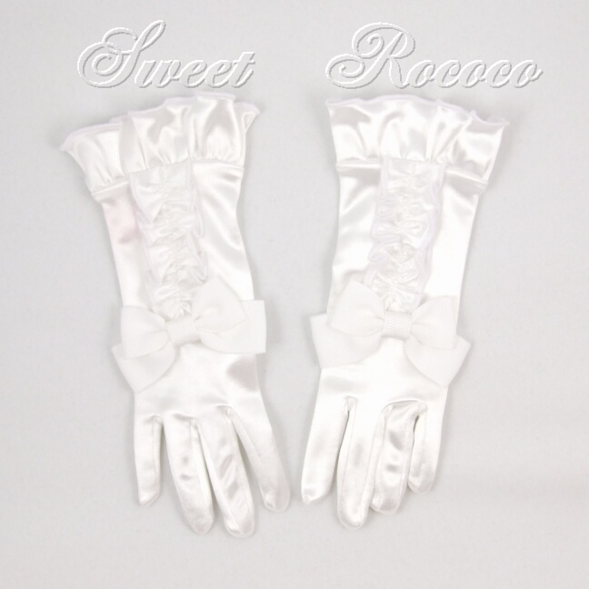 White Satin Society Gloves